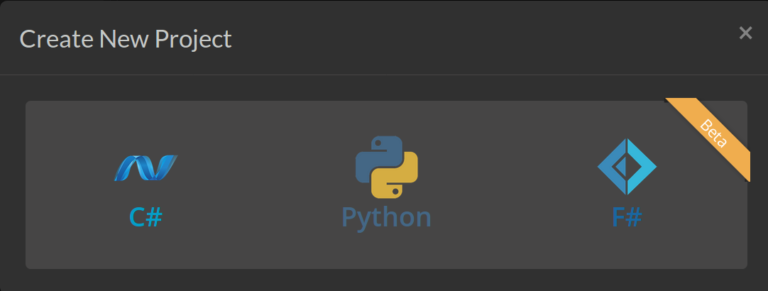 Three languages are available: C#, Python, and F#